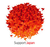 Japan flag shaped from origami birds Stock Photos