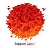 Japan flag shaped from origami birds Stock Photos