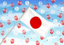 Japan flag on sky with red and white balloons. A japan flag on sky with red and white balloons Royalty Free Stock Photo