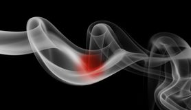 Japan flag smoke. Isolated on a black background royalty free stock images