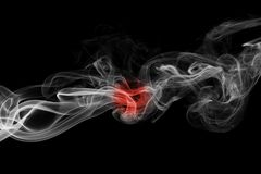 Japan flag smoke. Isolated on a black background stock images