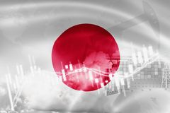 Japan flag, stock market, exchange economy and Trade, oil production, container ship in export and import business and logistics. Asia, asian, background stock illustration
