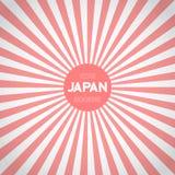 Japan Flag Sunburst Vector Background. Asian Japanese Flag with Stock Image