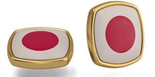 Japan flag symbol isolated on white background. 3D illustration. Japan flag symbol isolated on white background. 3D illustration stock illustration