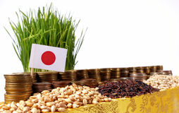 Japan flag waving with stack of money coins and piles of wheat. And rice seeds Stock Images