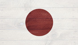 Japan flag on wood boards with nails Royalty Free Stock Photography
