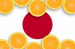 Japan flagga i citrusfruktskivahorisontalram arkivfoton