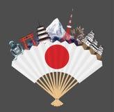 Japan-Flagge auf Fan mit Japan-Reisemarkstein Lizenzfreies Stockfoto