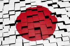 Japan-Flaggenhintergrund bildete sich von den digitalen Mosaikfliesen, Wiedergabe 3D Stockbild