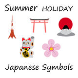 Japan Flat Icons Design Travel Concept.Vector Stock Image