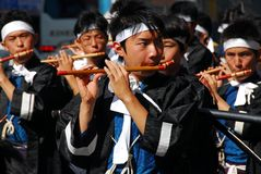 Japan flute musicians Royalty Free Stock Image
