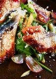 Japan food. With fish and sesame closeup background Stock Photos