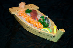 Japan food on boat. Close up view of japan food arrangement on boat Stock Images