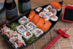Japan food boat. Japanese food background close diner Stock Photo