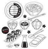 Japan food doodle elements hand drawn style. Royalty Free Stock Photography