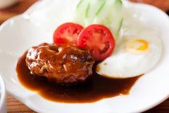 Japan food Hamburg with fried egg Stock Photos