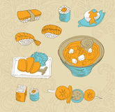 Japan food icons Stock Photography