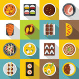 Japan food icons set, flat style Stock Photos