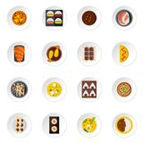 Japan food icons set in flat style Stock Photography