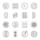 Japan food icons set, outline style Royalty Free Stock Photos