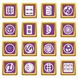 Japan food icons set purple Royalty Free Stock Images