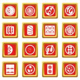 Japan food icons set red Royalty Free Stock Photography