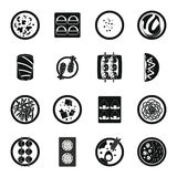 Japan food icons set, simple style Royalty Free Stock Photos