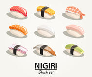 Japan food -  illustrations set - sushi nigiri Royalty Free Stock Image