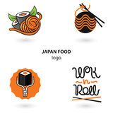 Japan food logo set. Noodles and sushi. Illustration for your fastfood business. Royalty Free Stock Photography