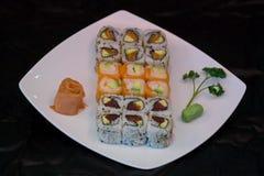 Japan food maki on plate. Close up view of japan food arrangement Royalty Free Stock Photos
