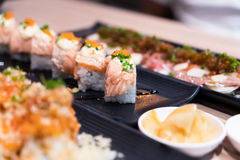 Japan food, nigiri sushi, food set Royalty Free Stock Photography