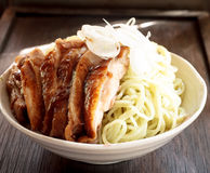 Japan food - noodle with chicken teriyaki Royalty Free Stock Photo