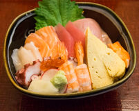 Japan food sashimi on rice Stock Photography