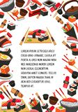 Japan food, seafood sushi banner template design Stock Photography