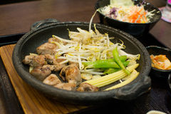 Japan food. Steak  set in hotport Stock Image