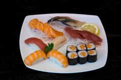 Japan food sushi on plate. Close up view of japan food arrangement Royalty Free Stock Photography