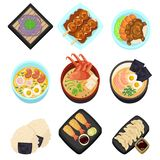 Japan food tasty cartoon icon Asian set menu restaurant Top view  illustration Stock Images