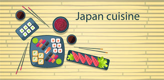 Japan Food Traditional Asian Cuisine Bamboo Background stock illustration