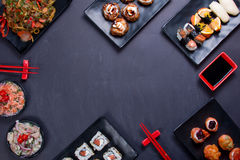 Japan food uper view. Japanese food background close diner Royalty Free Stock Photo