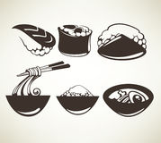 Japan food. Vector collection of japanese food symbols Royalty Free Stock Images
