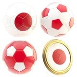 Japan football team attributes isolated. Japan football team set of four soccer ball attributes isolated on white Stock Photos