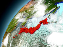 Japan från omlopp av modellen Earth Arkivfoto