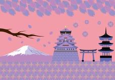 Japan-Frühlings-Markstein-und Kultur-Vektor Lizenzfreies Stockfoto