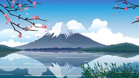 Japan Fuji Mountain Spring Vector Illustration royalty free illustration