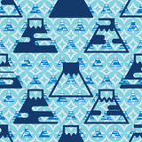 Japan Fuji symmetry seamless pattern. This illustration is design and drawing blue color theme with Japan Fuji Mountain sign in symmetry seamless pattern Stock Photos