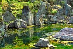 Japan garden with lake Royalty Free Stock Image