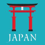 Japan gate card text flat design. Illustration background vector stock Royalty Free Stock Photo