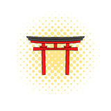 Japan gate icon in comics style Stock Images