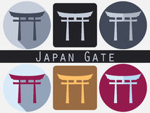 Japan Gate. Torii gate. Flat. Shinto. Historical monument. Stock Photo