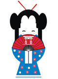 Japan geisha. Illustration of the shy japan geisha Stock Photo